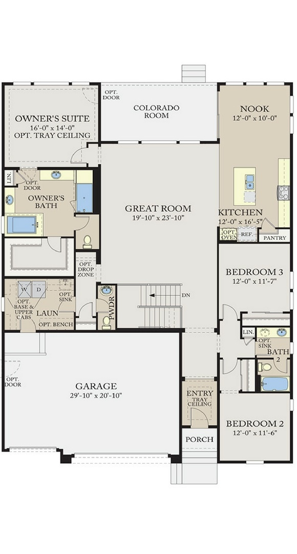 Residence 5A01 main level plan, a Beautiful Colorado Model New Home by CalAtlantic