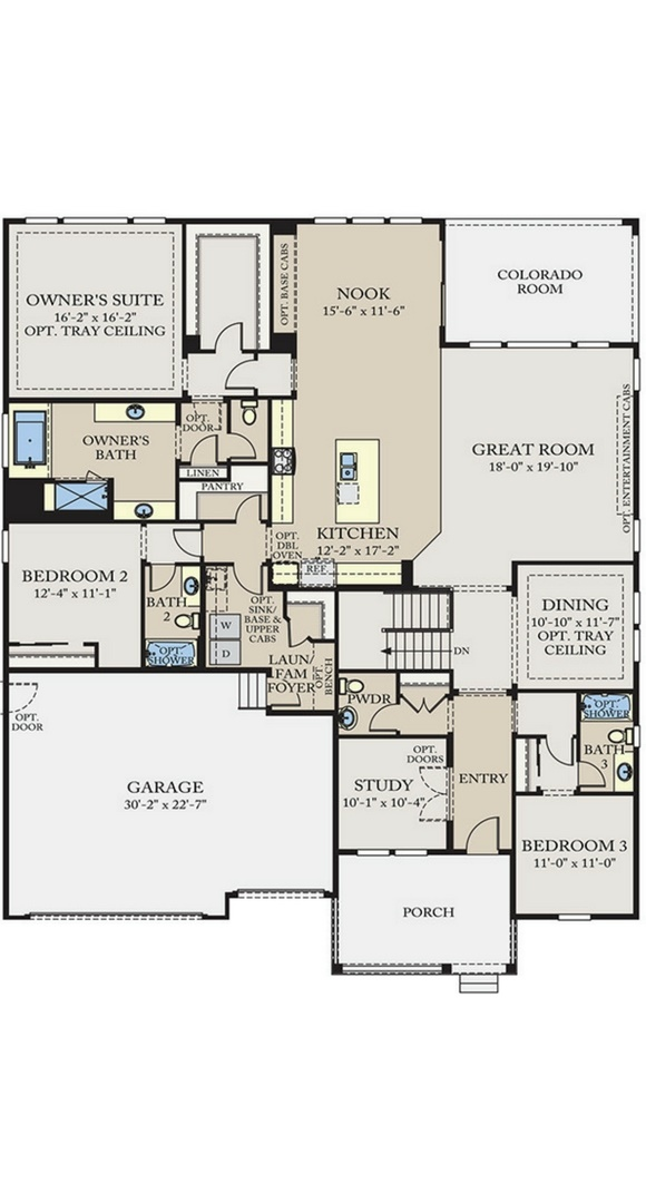 Residence 6A02 main level plan, a Beautiful Colorado Model New Home by CalAtlantic