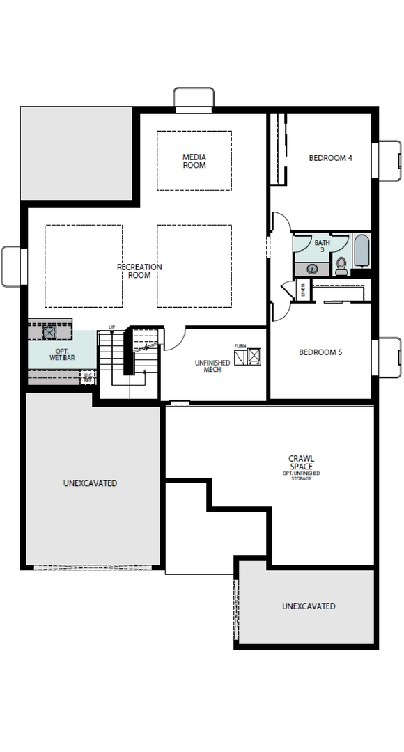Escape finished basement plan, a Beautiful Colorado Model New Home by Epic Homes