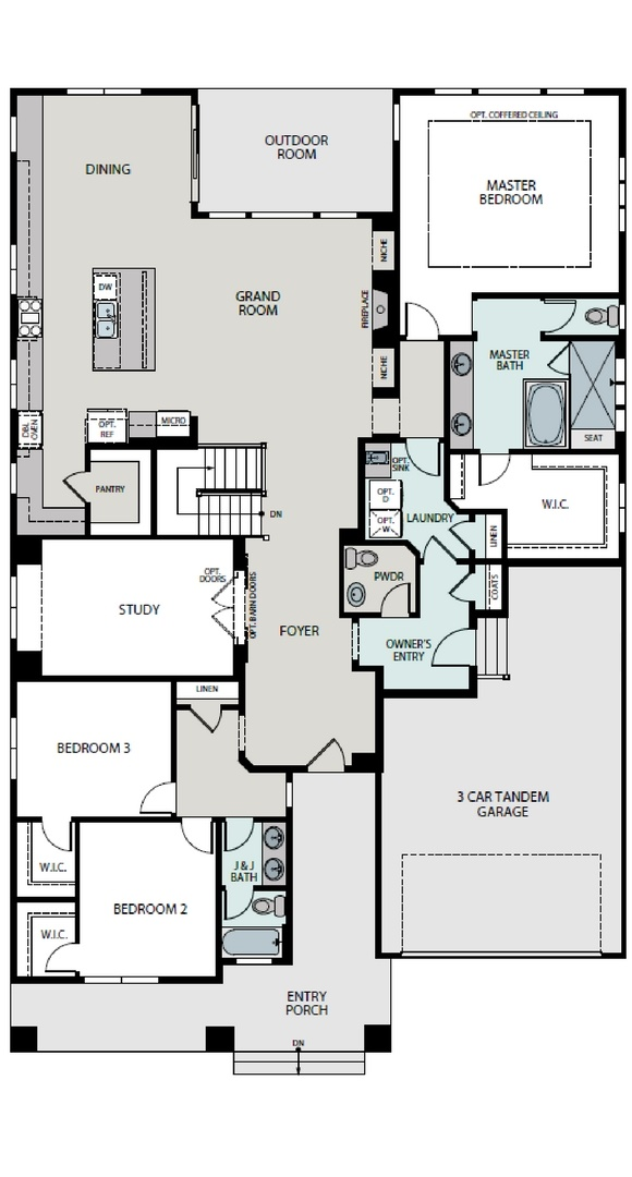 Aspire main level plan, a Beautiful Colorado Model New Home by Epic Homes