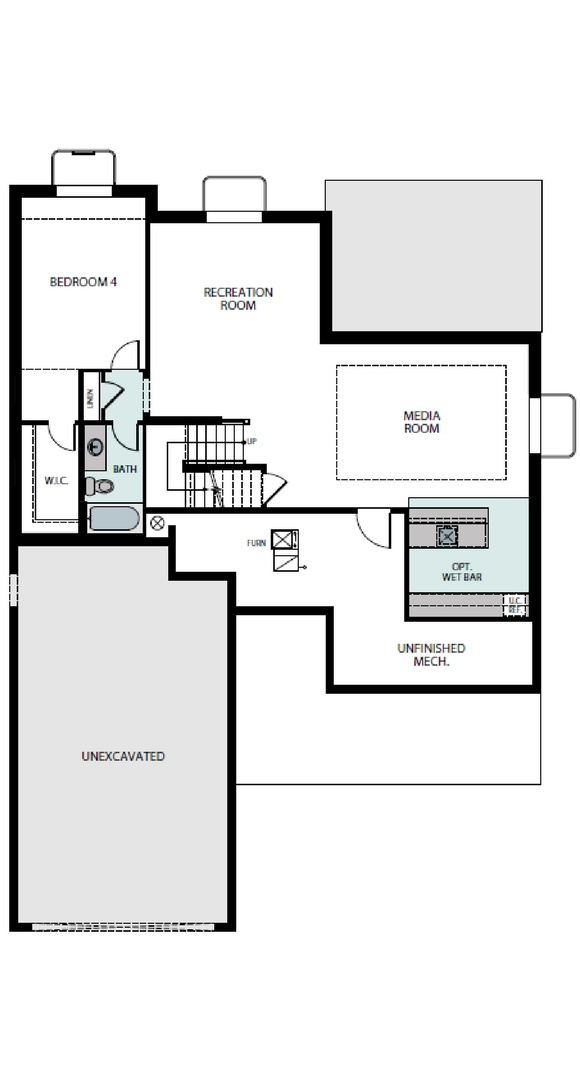 Ascend finished basement plan, a Beautiful Colorado Model New Home by Epic Homes