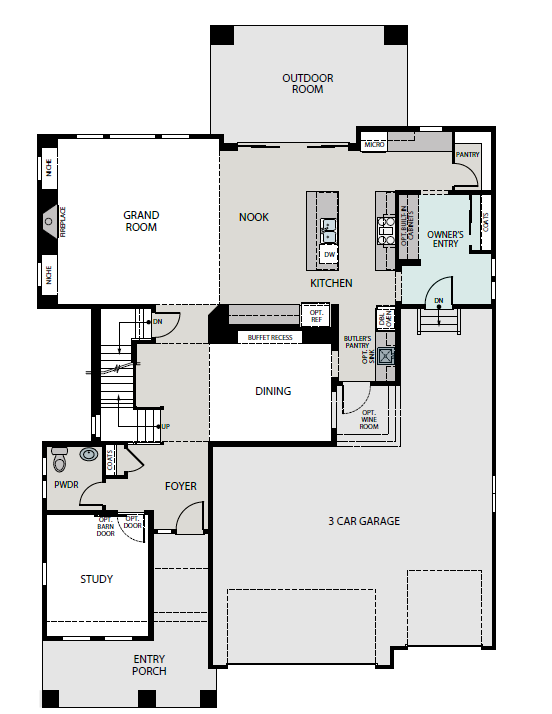 Summit main level plan, a Beautiful Colorado Model New Home by Epic Homes