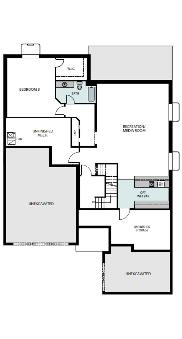 Pinnacle finished basement plan, a Beautiful Colorado Model New Home by Epic Homes
