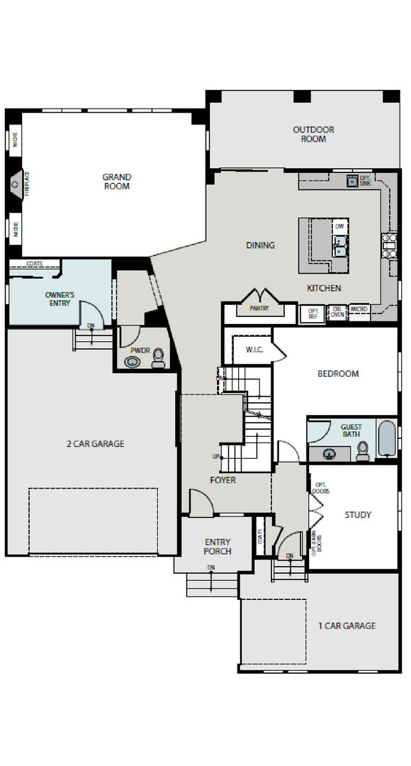 Pinnacle main level plan, a Beautiful Colorado Model New Home by Epic Homes