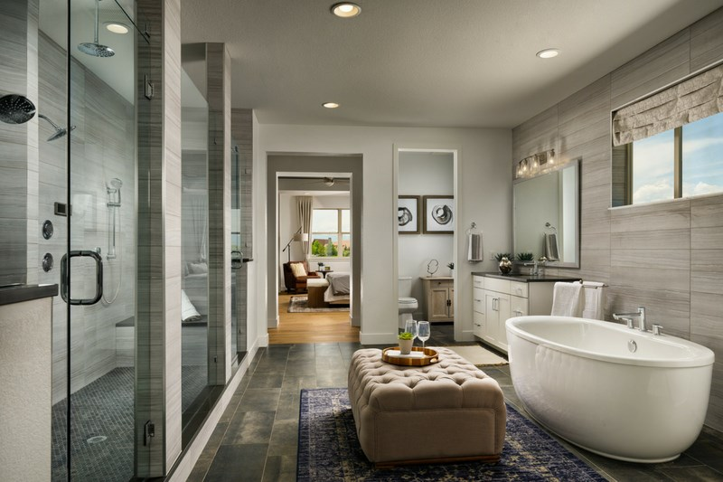 Pinnacle master bathroom, a Beautiful Colorado Model New Home by Epic