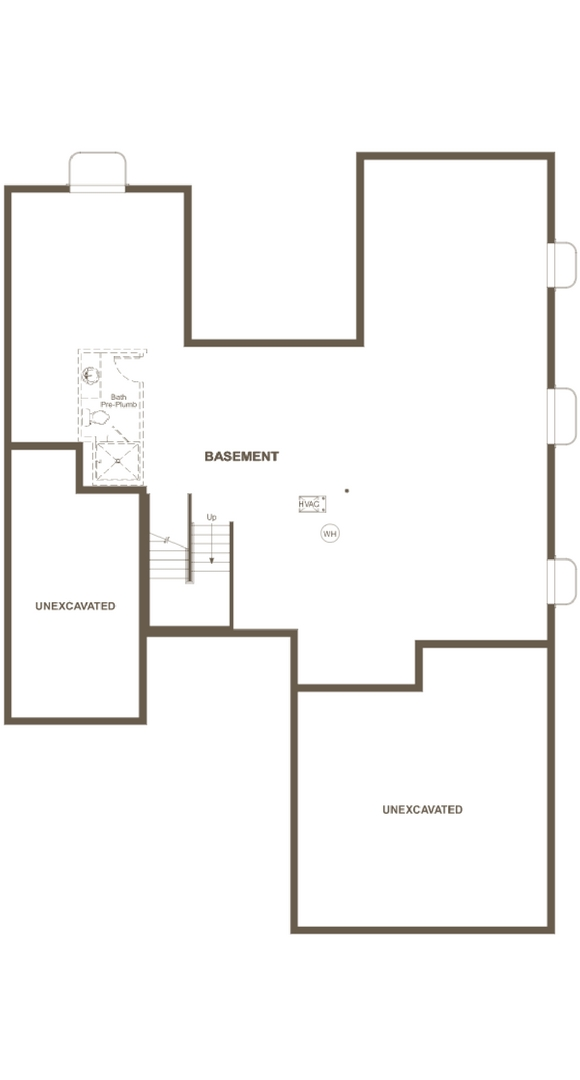 New home basement plan at 16195 Bushnell Peak by Richmond American | Anthem Highlands, Broomfield CO