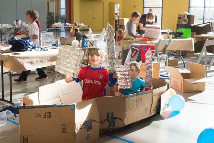 Cardboard challenge kids event at Anthem Highlands Parkside Community Recreation Center Broomfield CO
