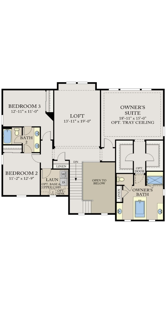 Residence 5C03 second level plan, a Beautiful Colorado Model New Home by CalAtlantic