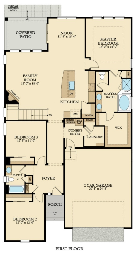 New home main level plan at 3042 Grizzly Peak Dr by Lennar | Anthem Colorado