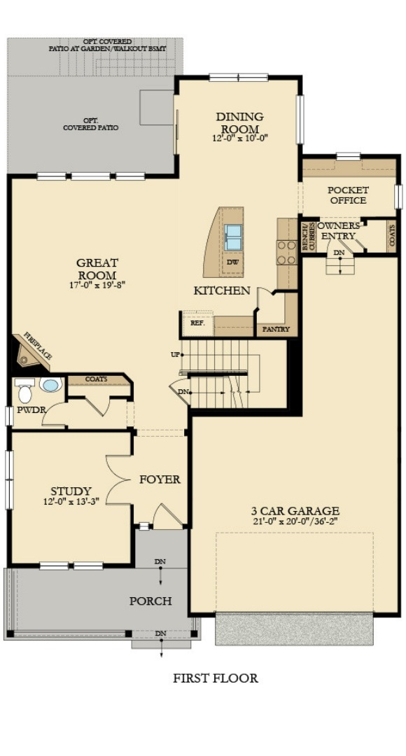 New home main level plan at 3052 Grizzly Peak Dr by Lennar | Anthem Colorado