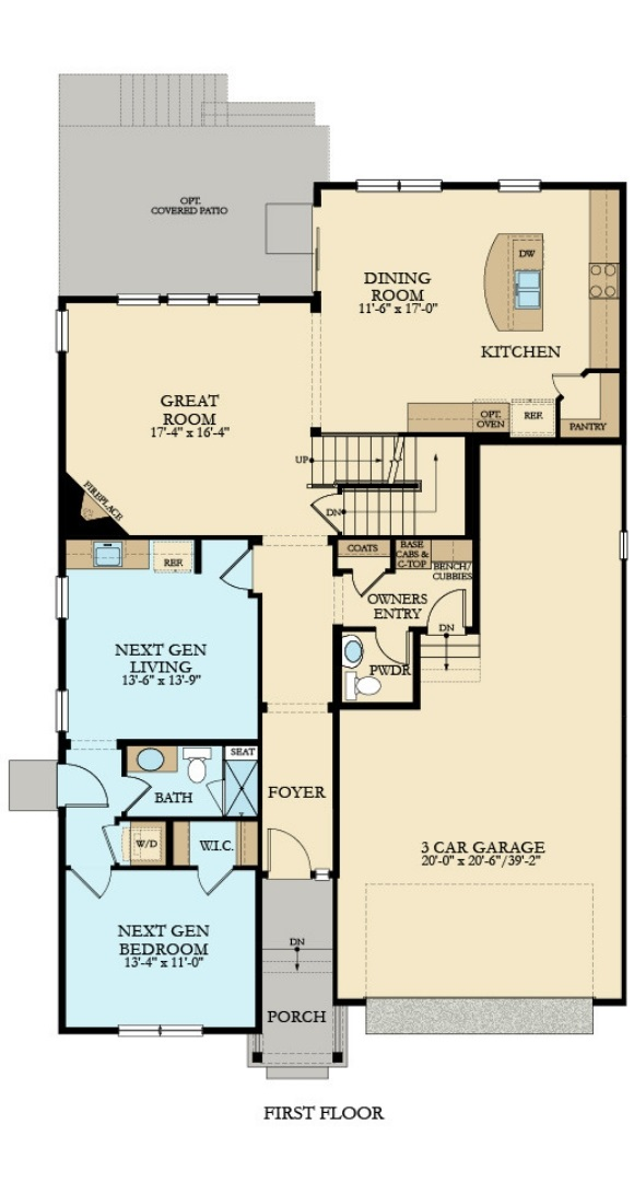 New home main level plan at 16274 Beckwith Run by Lennar in Anthem Colorado