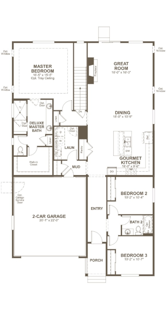 New home main level plan at 16278 Mount Silverheels Way by Richmond American | Anthem Colorado