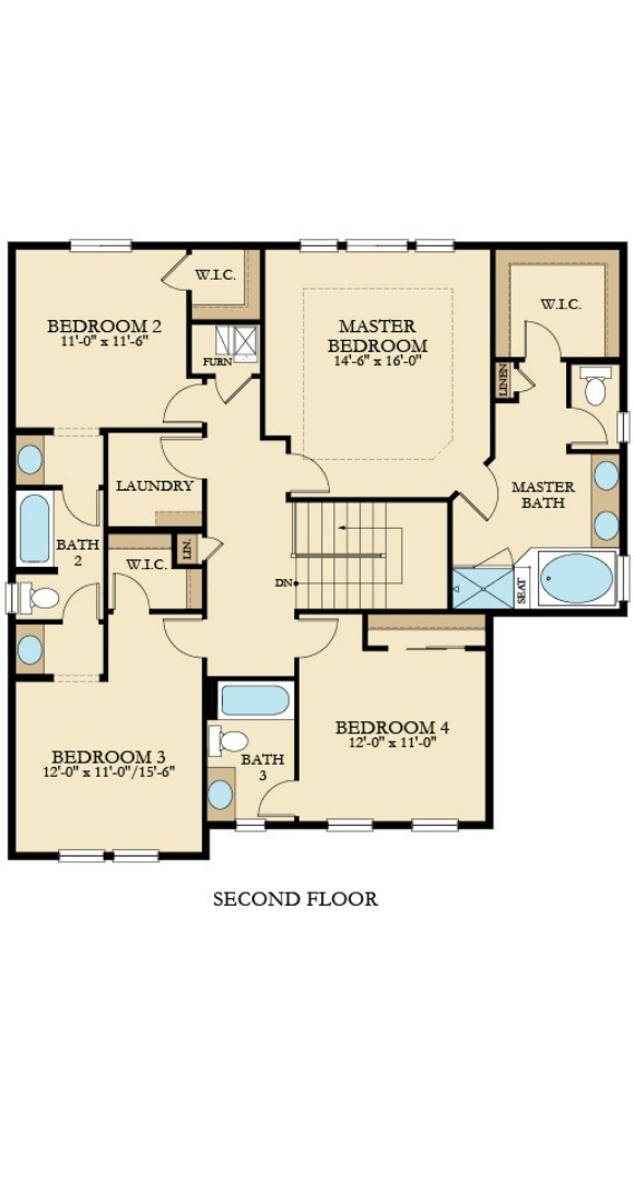 New home second level plan at 16297 Beckwith Run by Lennar | Anthem Colorado