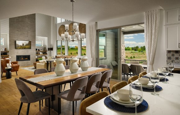 New home great room in Broomfield, Colorado at Anthem master-planned community